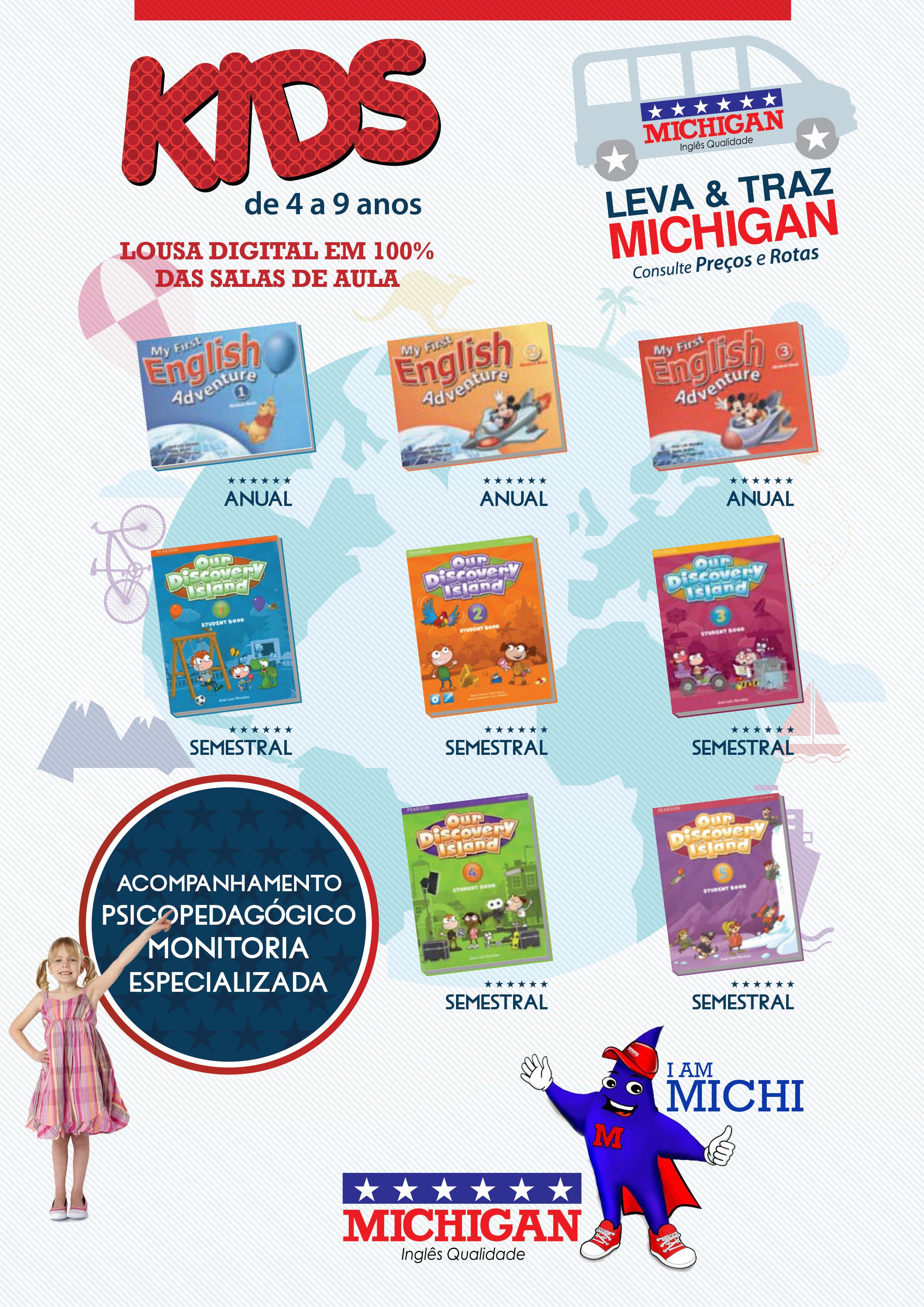 Curso de Inglês para Crianças Escola Michigan Valinhos material didático